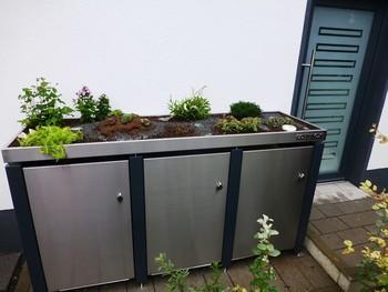M-ulltonnenhaus-Pflanzdach-mit-Deko-Elementen