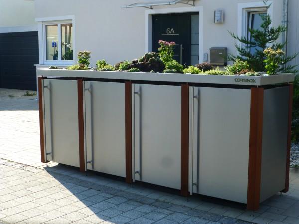 Mülltonnenbox Edelstahl/Bangkirai