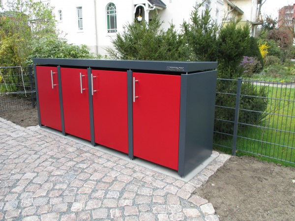 Mülltonnenbox Rot/Grau